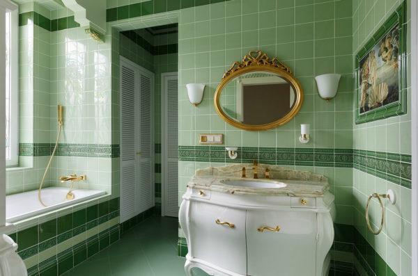оливковый в ванной