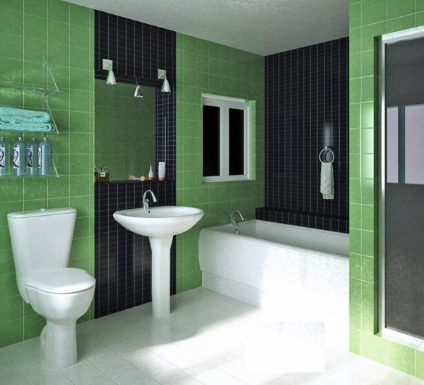 зеленая с черным ванная
