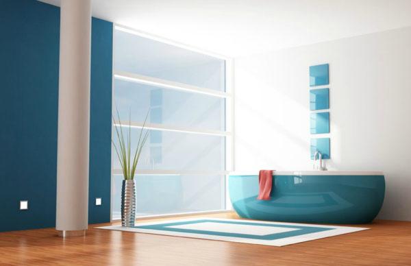 Голубая ванна в модерн