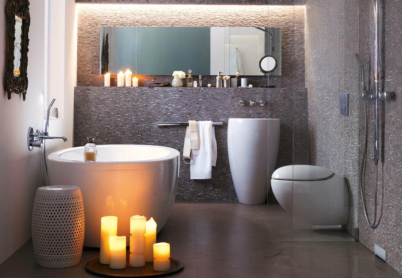 серый цвет в ванной модерн
