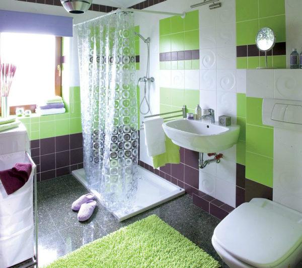 зеленая с сиреневым ванная
