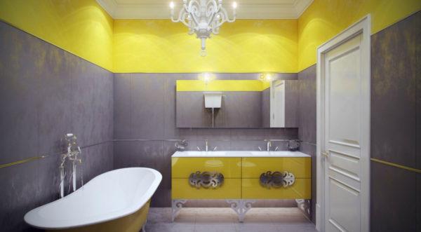 желтая с серым ванная
