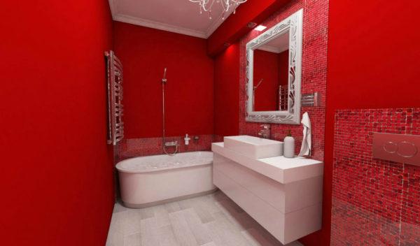 Оформление красной ванной
