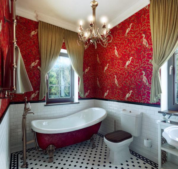 ар-деко в красной ванной