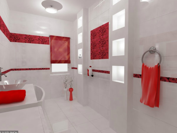 Красная ванная в минимализме