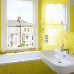 Желтая ванная комната: дизайн