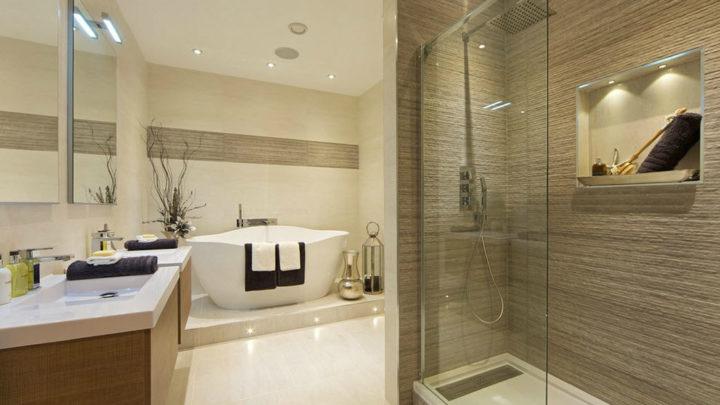 Бежевая ванная комната: дизайн и фото