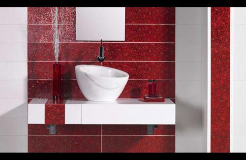 Красная ванная комнаты: дизайн и фото
